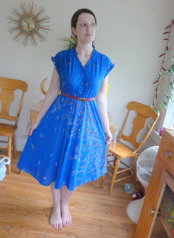 Very Pretty 1960's-1970's Faux Wrap Dress With Floral Design