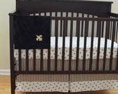 Black And Gold Fleur De Lis Custom Made To Order Crib Skirt