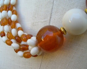 Necklace of Amber and White Plastic Beads