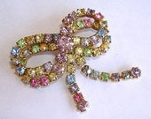 Vintage 1940s Brooch Bow Colorful AB Rhinestone Dangle Pastel Rainbow