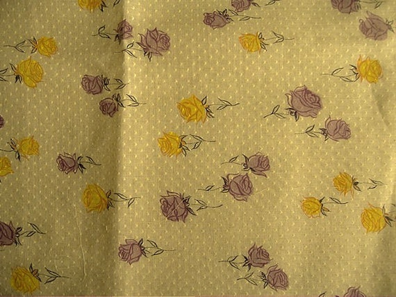 Reserved for Elizabeth...Vintage Cotton Fabric Dotted Swiss Rose Print over 3 Yards