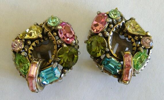 Reserved for Soledad 50s Hollycraft Earrings 1956 Multi-Color Rhinestones