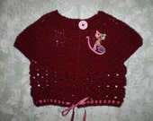 REDUCED Size 8 to 10 Crocheted Girls Burgundy Cropped Sweater