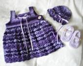 Purplelicious Crocheted Little Girls Dress Set