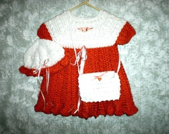 Size 4  Autumn Splender  Crocheted Girls Dress, Hat and Purse
