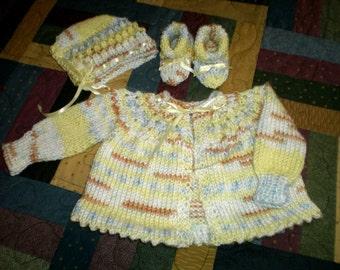 Newborn Knitted Infant Sweater Set