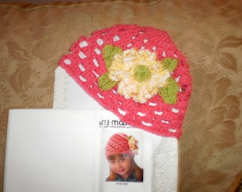 Little Girls Pink Hat with Large Yellow & White Flower
