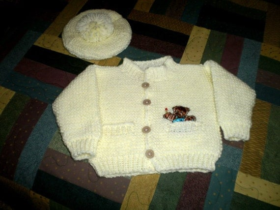 Knitted Yellow Baby Sweater & Hat Set