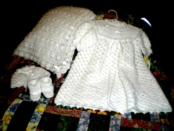 Crocheted White Christening Gown and Shawl Set  Reserved for Paula