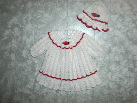 Crocheted 12 Months Holiday White with Red Dress Set(2 sets RESERVED for Lorena)