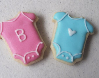 Mini Baby Onesie Sugar Cookies, Baby shower cookies 2 dozen