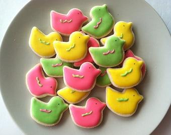 Baby Duck sugar cookies, Twitter Bird sugar cookies for baby shower favors,party favor - 3 dozen