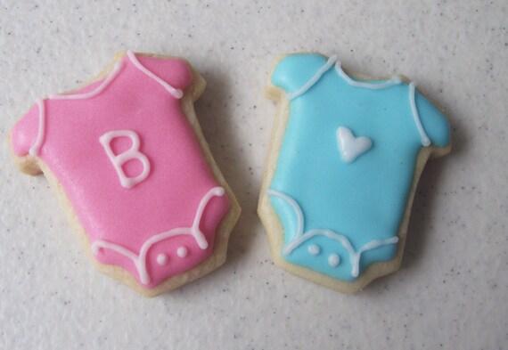 Mini Baby Onesie Sugar Cookies, Baby shower cookies 2 dozen