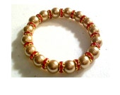 SALE - Metallic Cashmere & Golden Red Crystal Elastic Bracelet- FREE SHIPPING