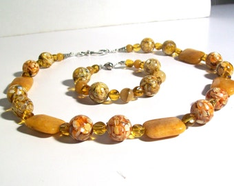 Statement Necklace Set, Amber Mosaic Gemstone & Mother of Pearl Necklace Set, 3 Piece Set