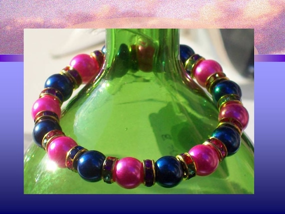 Hot Pink n Royal Blue Bracelet - 25 PERCENT HOLIDAY SEASON DISCOUNT