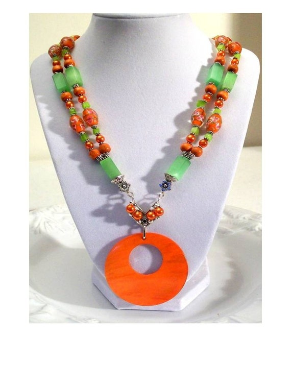 One of a Kind Hand Made Orange & Green Double Strand Pendant Bib Styled Necklace - Free Shipping