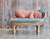 Small Aqua Flower on Chocolate Brown Headband - Handcrafted Fabric Baby Headband Newborn Headband