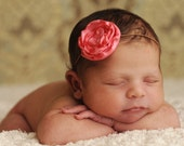 Small Coral Pink Flower on Skinny Headband - Perfect for Baby Headband to Adult Headband