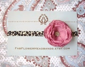 Mauve Flower on Leopard Print Headband - Baby Headband Newborn Headband to Adult Headband
