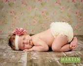 Pink Flower on Ivory Lace Headband - Baby Headband - All Sizes
