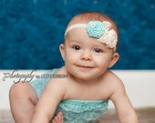 Aqua and Ivory Newborn Headband - Baby Headband - Tiffany Inspired