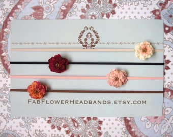 Small Flower Newborn Headbands - Tiny Flower Newborn Headbands - Newborn Headbands Set - Small Newborn Headbands - Tiny Flower Headbands