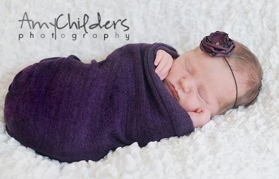 Eggplant Purple Flower on Skinny Headband - Baby Headband to Adult Headband