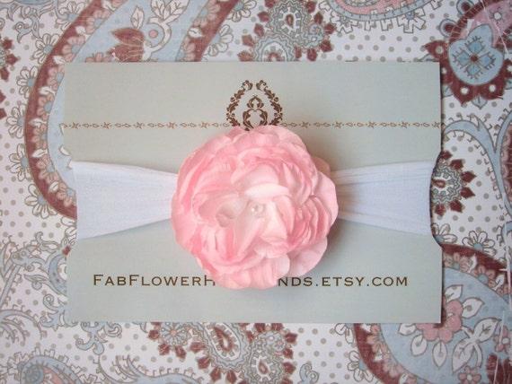 Pale Pink Flower on White Nylon Headband - Baby Headband