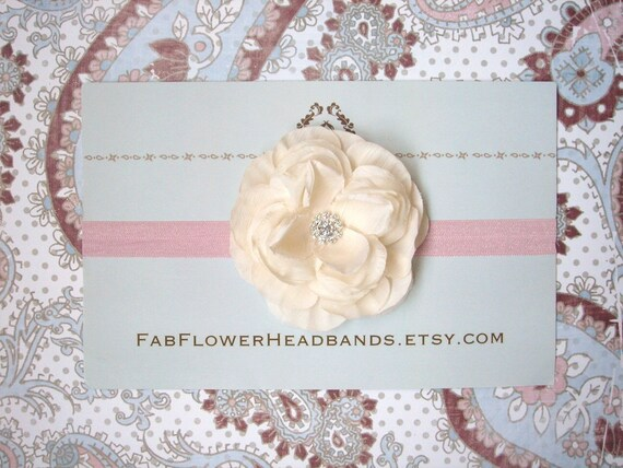 Ivory Cream Flower on Pink Headband - All Sizes - Newborn Headband - Baby Headband - Adult Headband