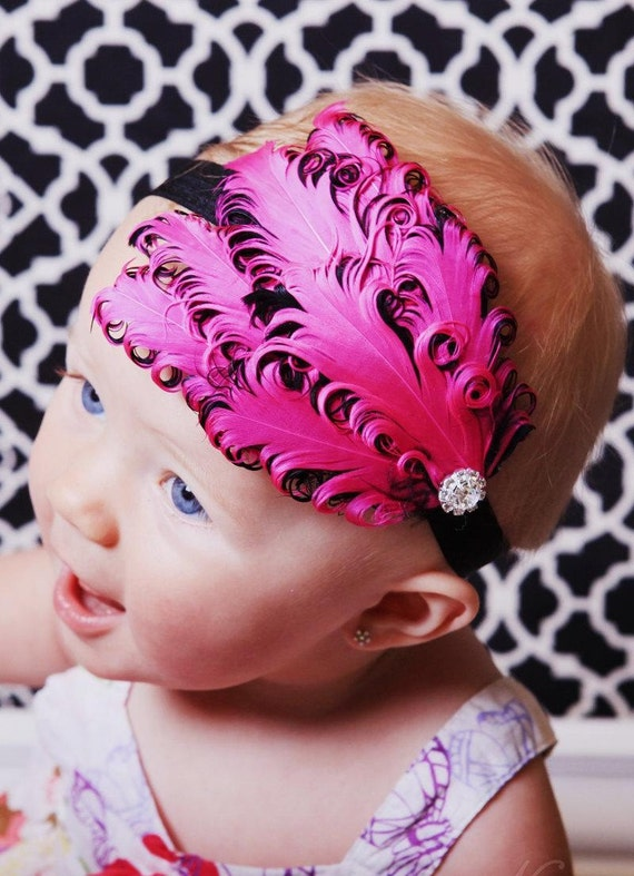 Hot Pink And Black Feather Headband Wow All Sizes