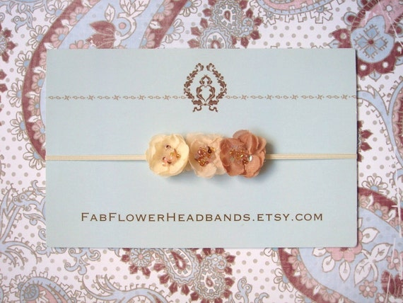 Small Tan and Cream Headband - Baby Headband - Newborn Headband