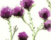 Watercolor Painting - Milk Thistle - Floral Sumi-e Art Print