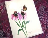 Greeting Card - Monarch Butterfly with Echinacea Watercolour and Sumi-e - Reproduction Art Card