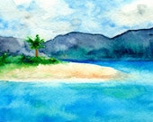 Art Print - Sandy Cove Caribbean Seascape - Watercolor Painting
