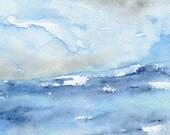 Watercolor Painting - Tempest Ocean Wave - Blue Seascape Art Print