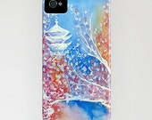 Floral Phone Case Japanese Temple - Cherry Blossoms Painting - Designer iPhone Samsung Case