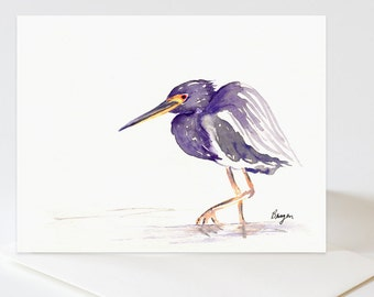 Greeting Card - TriColoured Heron Bird Art Card