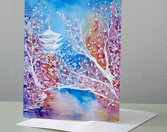 Japanese Temple Cherry Blossom Landscape Painting - Reproduction Art Card