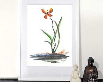 Minimalist Watercolor Ink Painting - Butterfly Orchid - Floral Zen Sumi-e