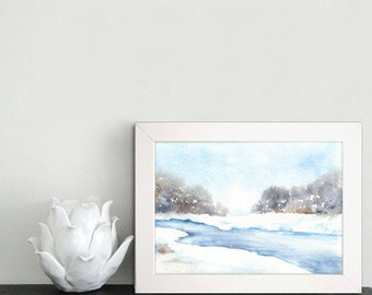 Watercolor Painting - Winter Frozen Creek Landscape Print - Featured in Etsy Finds - Art Print