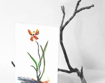 Butterfly Orchid Sumi-e Zen Art Card
