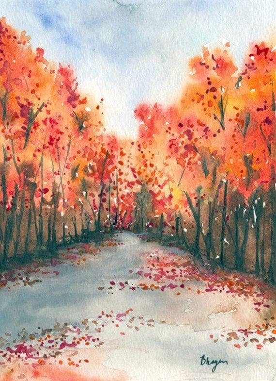 Watercolor Landscape Painting Autumn by BrazenDesignStudio
