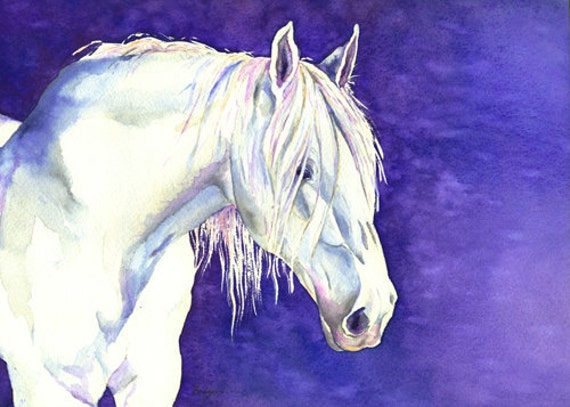Equine Watercolor Painting White Horse by BrazenDesignStudio