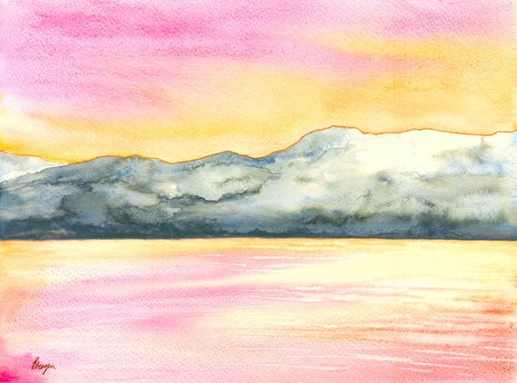 Watercolor Painting - Original Sunrise Seascape - Serene Water Art