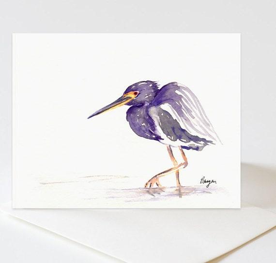 Greeting Card - TriColoured Heron Bird Art Card
