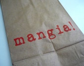 Mangia / Set of 10 Stamped Brown Paper Lunch Sacks