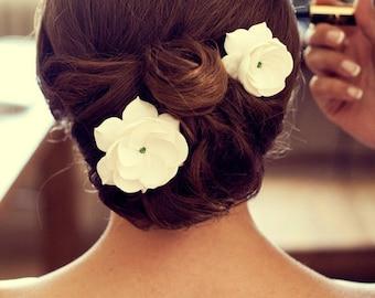 Bridal Fascinator, Set Of 2 Wedding Fascinators, Gardenia Bridal Fascinators, Hair Pins With Swarovski Crystals, Wedding Fascinator, Hairpin
