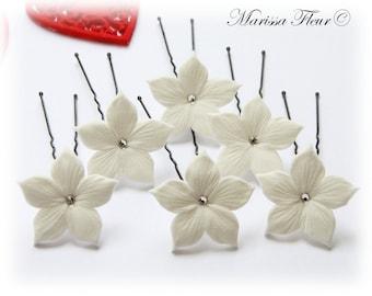 Bridal Hair Pins - Set Of 6 -  Stephanotis Hair Pins, Bridal Hair Pins With Swarovski Crystals, Bridesmaids, Flower Girl