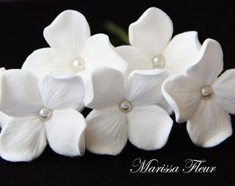 Bridal Hair Pins - 6 Hydrangea Hair Flowers With Pearls, Bridal Hair Accessories, Wedding Hair Pins, Bridal Headpiece, Wedding Pins